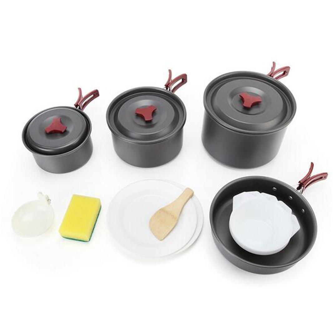 YHKQS-KQS Im Freien Camping Küche Supplies Hochwertige Antioxidans Aluminium Legierung Textur des Materials 3-5 Personen Camping Cookware Set Griff Foldable