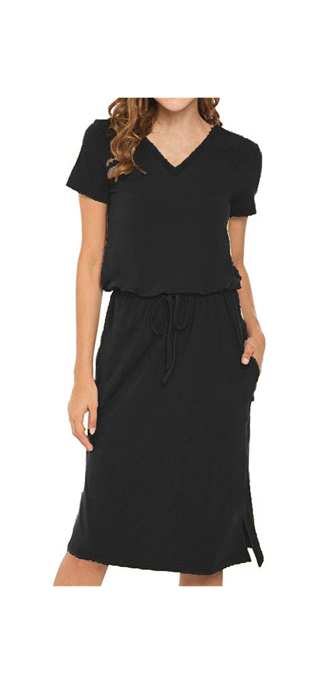Womens Short Sleeve V Neck Elastic Waist Casual Midi With