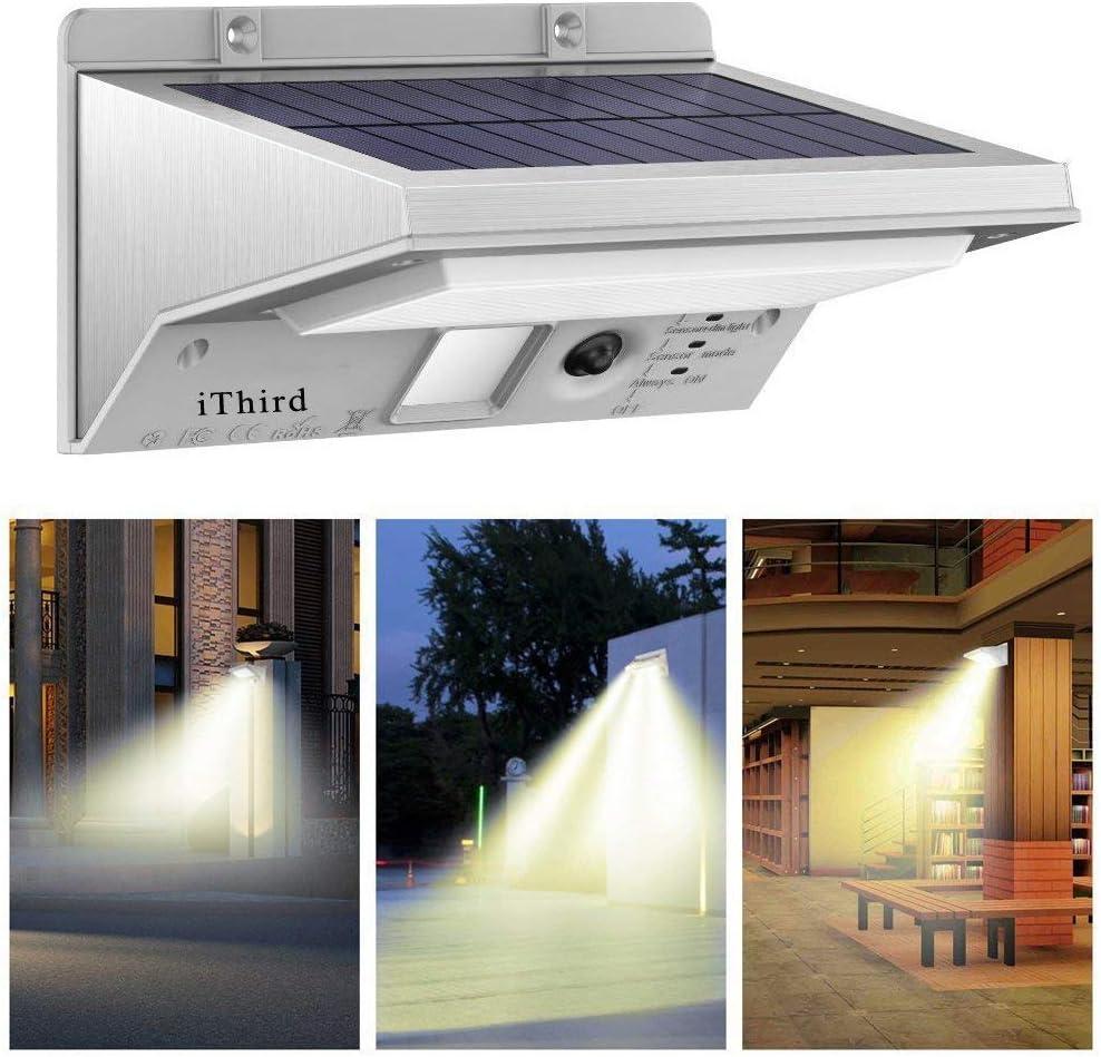 Lámparas Solares, iThird 21 LED Luz Solar con Sensor de Movimiento Focos Impermeable Luz Solar Exterior para Jardín, Terraza, Garaje, Camino de Entrada Iluminación Exteriores Blanco Cálido: Amazon.es: Bricolaje y herramientas