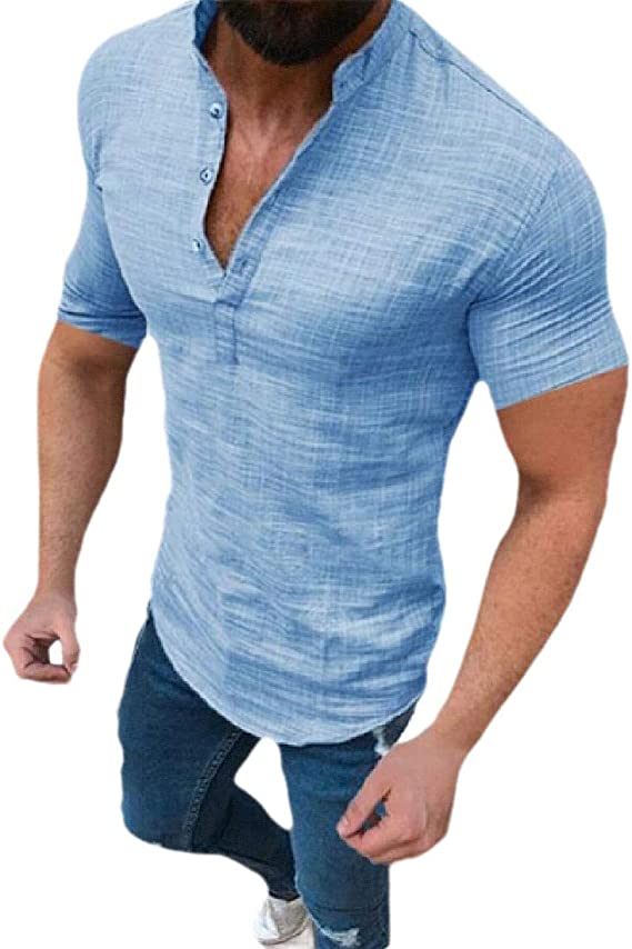 Keaac Mens Casual Short Sleeve Cotton Business Button Down Shirts Tops Blouses