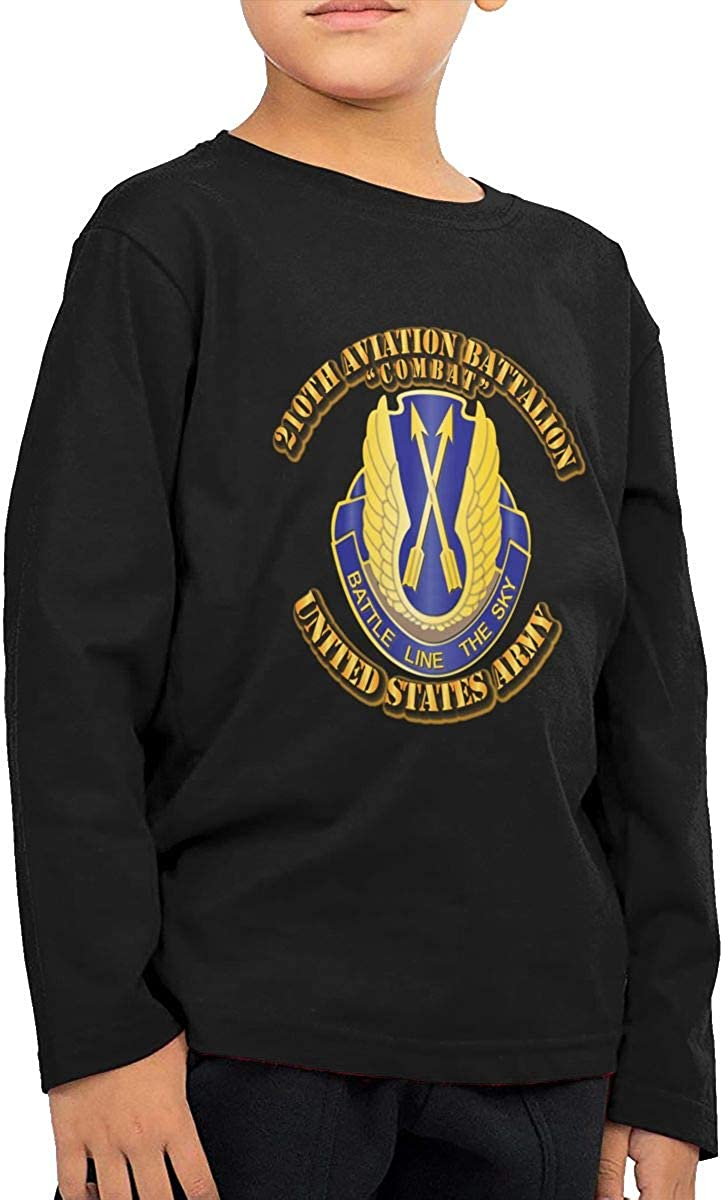 Army 210th Aviation Bn Combat Childrens Long Sleeve T-Shirt Boys Cotton Tee Tops