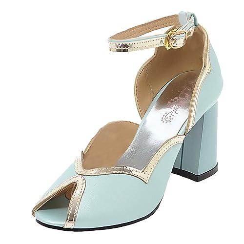 855b474bae938d AIYOUMEI Damen Knöchelriemchen Sandalen Blockabsatz Riemchen Pumps Peeptoe High  Heels Sandaletten Blau 32.5 EU