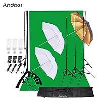 Andoer Photo Studio Lighting Kit 3pcs 45W Bulb w/Backdrop Deals