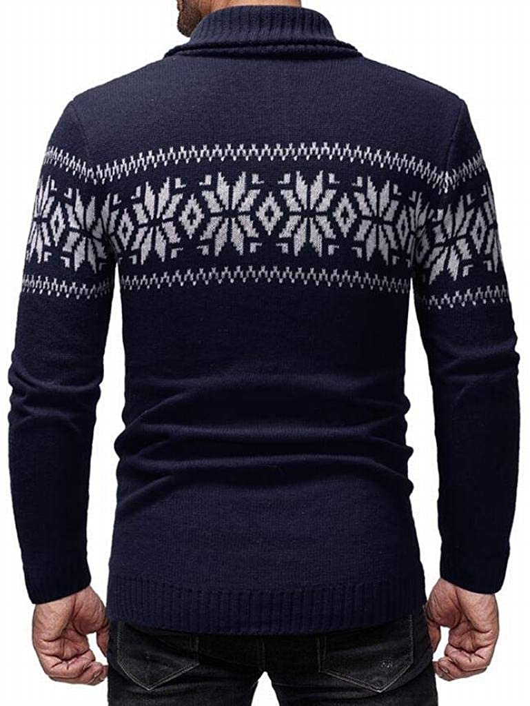 WAWAYA Mens Christmas Long Sleeve Turn Down Collar Warm Snowflake Winter Pullover Sweaters