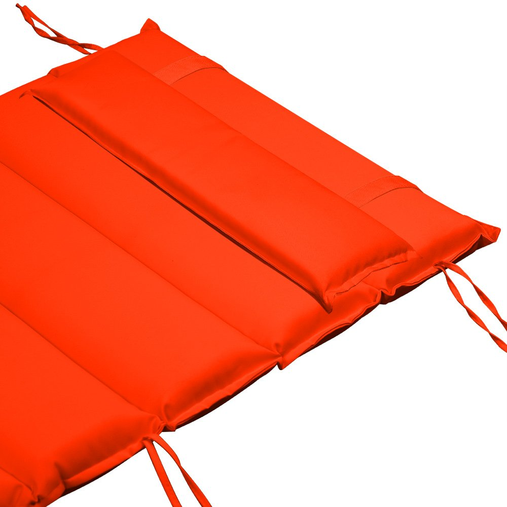 DeTex Sun and Sauna Lounger Cushion Pad with Adjustable Pillow   Flexible   Extra Thick Padding   Velcro Straps   Water repellent   Anthracite Grey Orange or Cream Colour   Garden & Patio Deuba