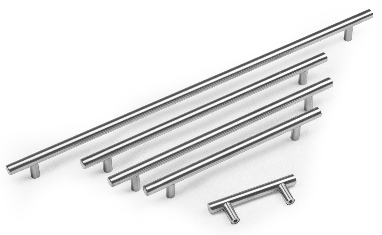 Brushed Steel T Bar Kitchen Door Handles 96mm hole centres