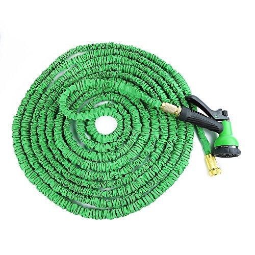 75 Foot Car Washing Hose ,Expandable Magic Hose Stretch Hosepipe with 8 Function Spray Gun -Green