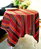 Farmhouse Coffee Table and End Tables Secret Sea Collection - Ethnic Pattern Multicolor Coffee Table or End Table Tablecloth, Multi Purposes (Design: Hot Chili Sauce, Square, 40x40 inches)