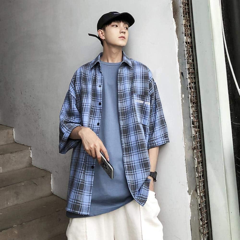 Mrytiuoperg - Camisa de manga 3/4 para hombre, diseño de cuadros, color gris, azul y rojo: Amazon.es: Ropa y accesorios