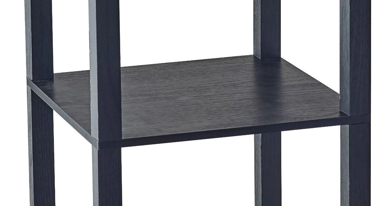Square Tall Pedestal End Table With Storage Area Side Table With Under Storage Shelves Room Décor Coffee Table Black Cocktail Table Furniture Table