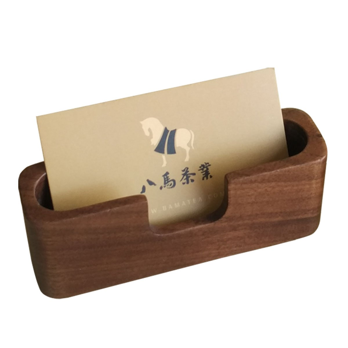 Wood Business Card Display Holder, Professional Brown Walnut Cards Case for Desk Desktop Single Compartment Wooden Name Card Stand for Tables Organizer Index Card Filing Topspeeder