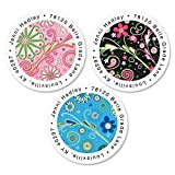 Fun Patterns Personalized Return Address Labels – Set of 144, Round Self-Adhesive, Flat-Sheet Labels (3 Designs), By Colorful Images