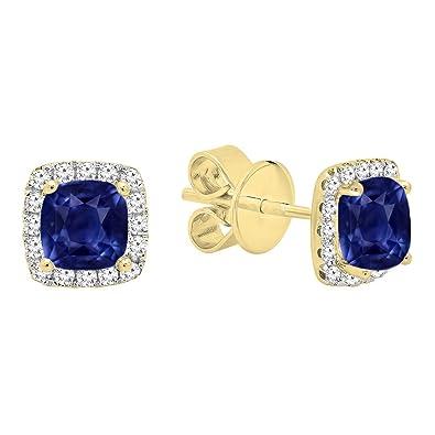 6f256a1e8 Dazzlingrock Collection 14K Each 4 MM Cushion Lab Created Blue Sapphire & Round  Diamond Halo Stud