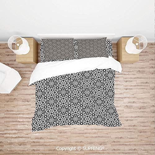 SCOXIXI Bed Cover Set Old Antique Kitchen Decor Floor Tiles Inspired Royal Star and Flower Like Image (Comforter Not Included) Soft, Breathable, Hypoallergenic, Fade Resistant