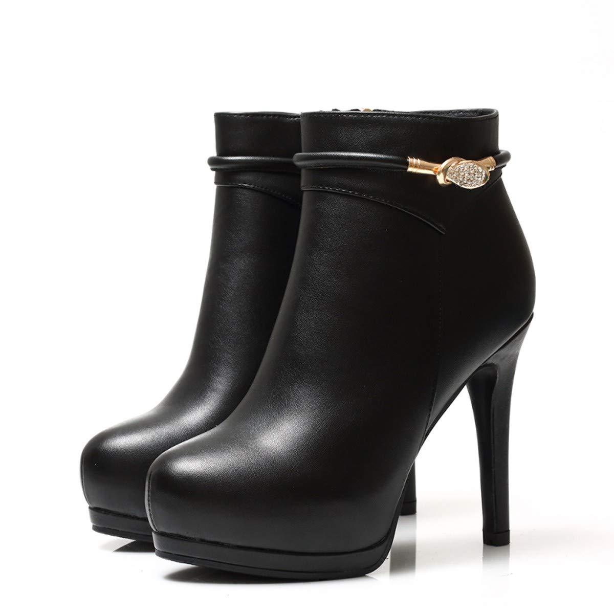 LBTSQ-Schuhe SAMT Wasserdicht 10Cm Sexy Modisch Shorts Martin Stiefel Runden Kopf High Heels High Heels