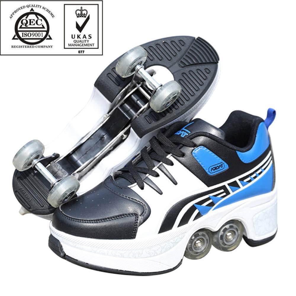 ガールズボーイの2-in-1多機能ライトローラーシューズとシングルホイールスケートスニーカー-防水性と通気性を備えたストレッチ可能なローラースケート,青-40 青