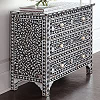 Floral Bone Inlay Sideboard Handmade Designers Inlay Furniture