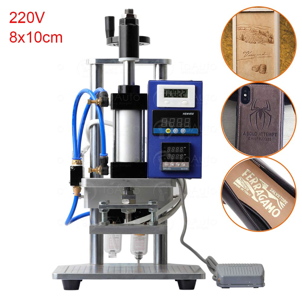 Pneumatic Hot Foil Stamping Machine with Double Column Air Operated and Foot Switch for PVC Card Leather Wood Embossing (8x10cm, 220V) by FASTTOBUY