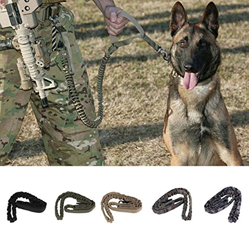 5 Color Duty Adjustable Dog Leash Military Dog Tactical Leads belt US Army Waterproof Quick Release Tactical (Happy Junkyard Puppy)