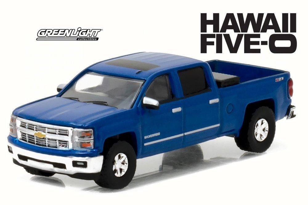 Greenlight 2014 Chevy Silverado Blue 44760-1//64 Scale Diecast Model Toy Car 44760-E-GL-FIVE0 Hawaii Five-O