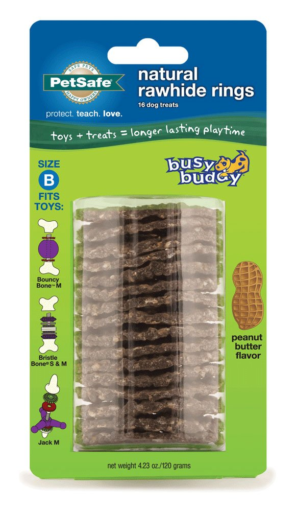 PetSafe Rawhide Treat Rings for Busy Buddy Dog Toys - Peanut Butter Flavor – 16 Rings – Medium  (SIZE B RINGS)