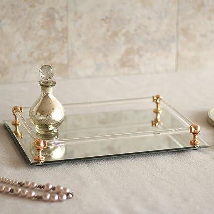 """Bandeja espejada decorativa (ideal para cosméticos, accesorio de tocador, con """"gemas"""""""