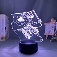 3D Night Lamp Anime Illusion Lamp Anime Anime On Titan Levi Ackerman Led Night Light Lamp For Bedroom Decoration…
