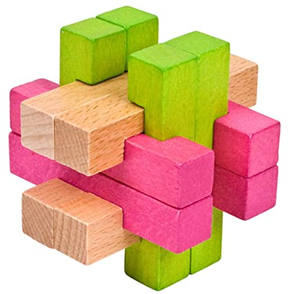 Adeeing Kids Student Colorful Wooden Luban Lock Puzzles Toy