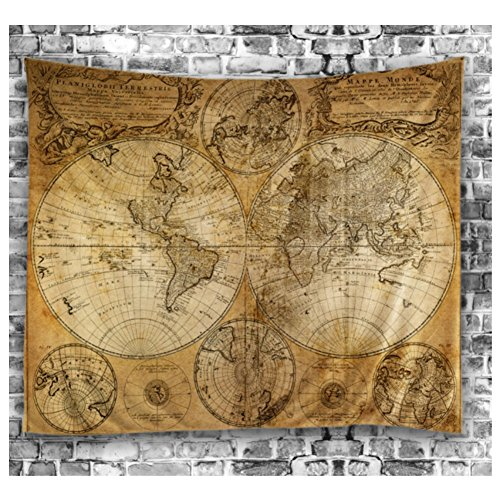 [YGUII World Map Tapestry Vintage Wanderlust Decor mage of Old Map in 1720s Nostalgic Style Art Historical Atlas Decor 150200 cm(59