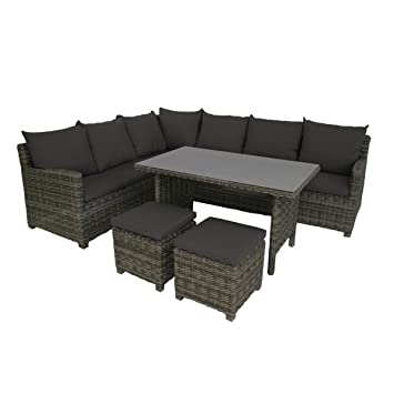 Amazon.de: greemotion Rattan-Lounge Set Miami 6tlg - Design ...