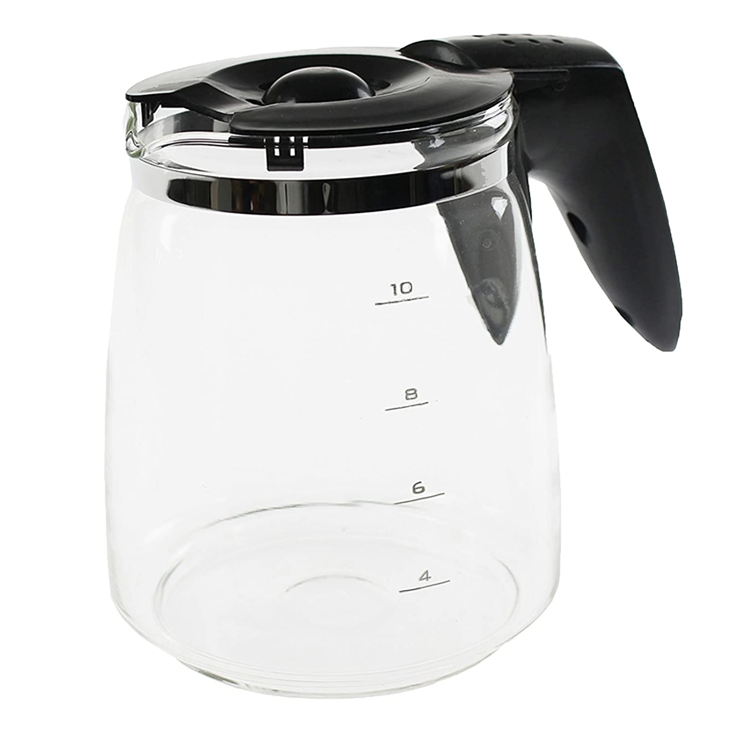 4YourHome Glass Coffee Machine Jug and Lid, Black/Clear QUACMJ004
