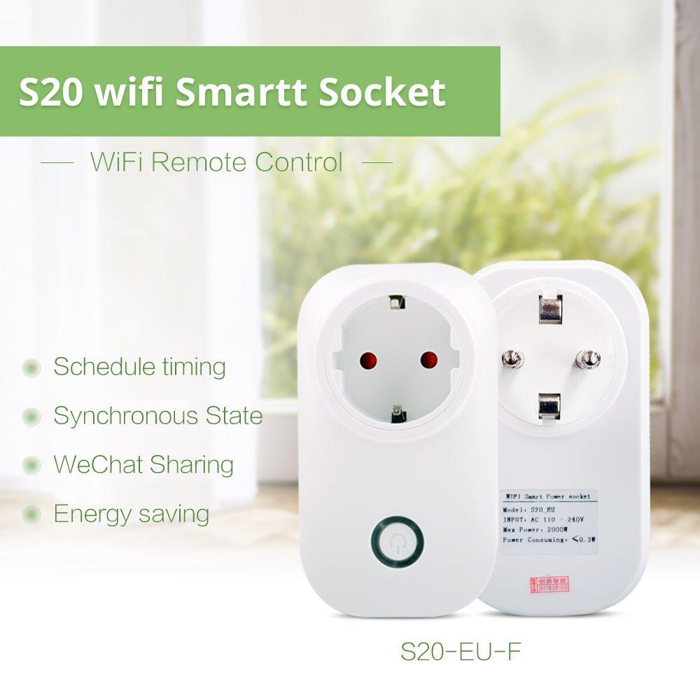 S20/Tel/éfono WIFI Wireless mando a distancia Smart Home enchufe eu//US//UK para sonoff