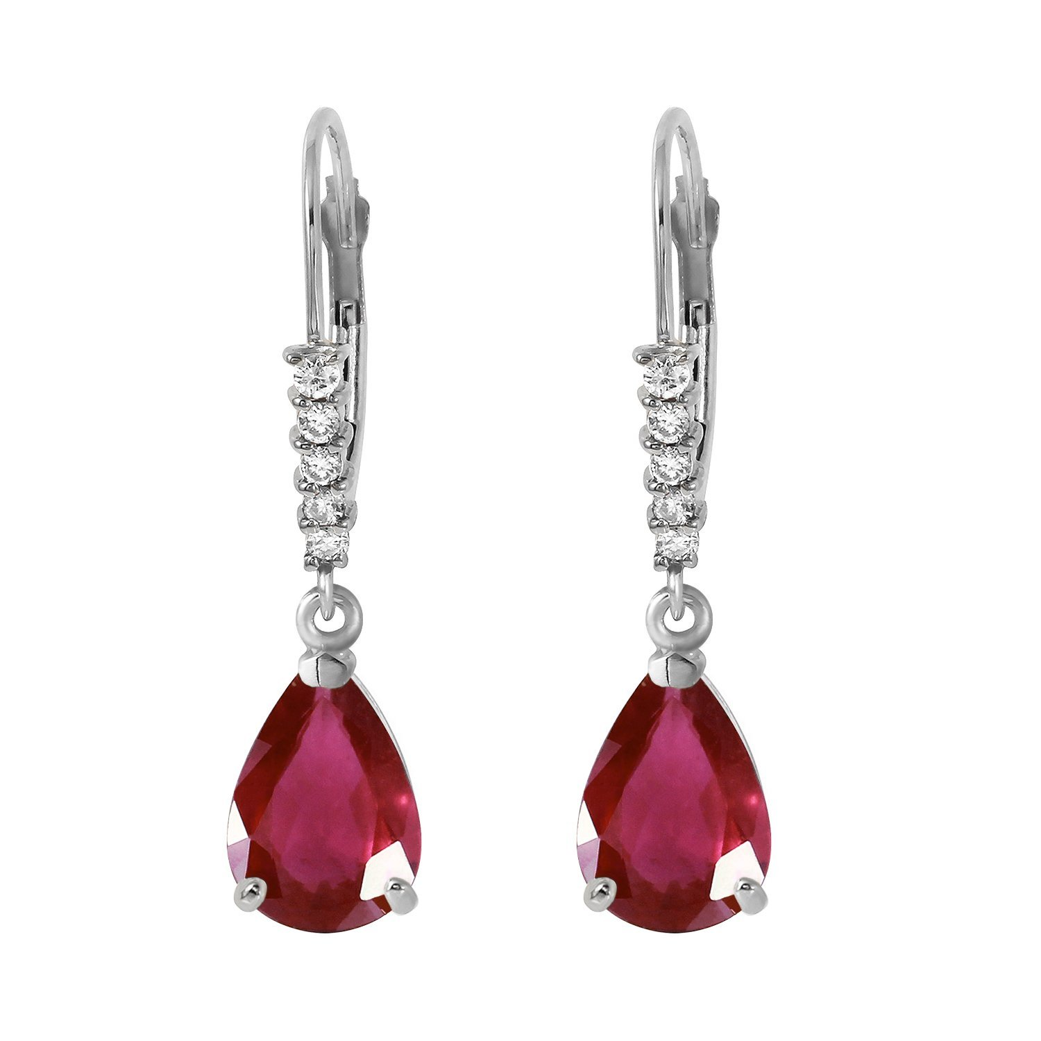 3.15 Carat 14k Solid White Gold Leverback Earrings with Natural Diamonds and Rubies by Galaxy Gold (Image #2)