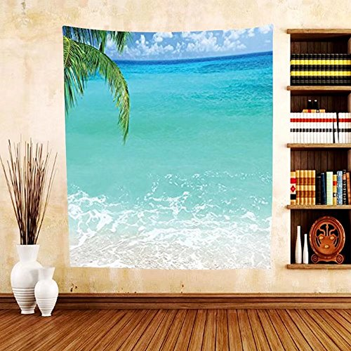 Gzhihine Custom tapestry Ocean Decor Collection Exotic Lebanon Beach Panoramic Sea View and Clear Sky Picture Bedroom Living Kids Girls Boys Room Dorm Tapestry Aqua Blue Green - Of Outlets Lebanon Prime