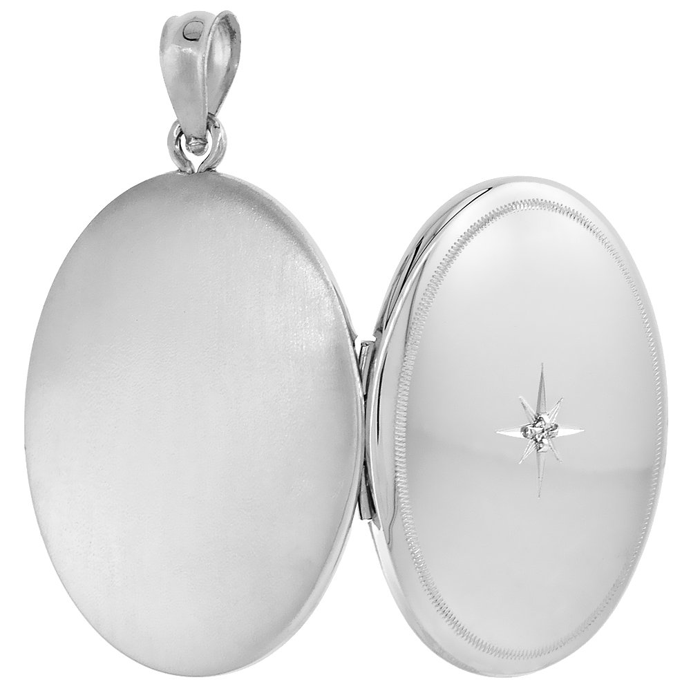 Sterling Silver Diamond Oval Locket Necklace Starburst Set Etched Border 1 1//32 inch