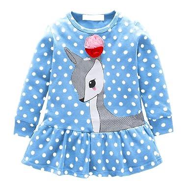 Ropa Bebé Niñas Vestido Manga Larga Ciervos de Dibujos Animados Tops Camiseta Falda para Bebés Niños 6 Meses-6 años Holatee: Amazon.es: Ropa y accesorios