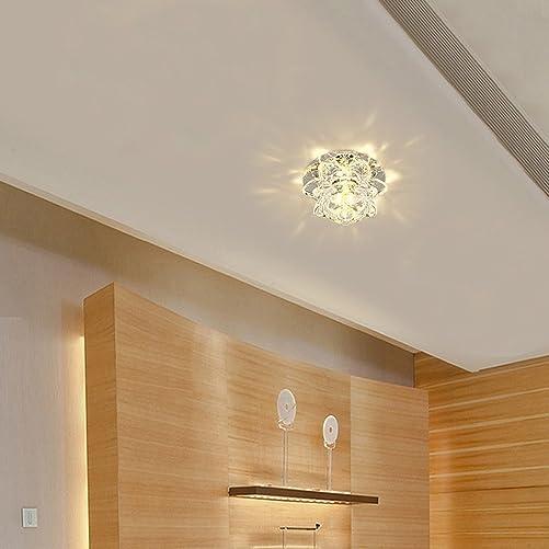 Modern LED Crystal Chandelier Aisle Ceiling Lighting Round Pendant Lamp Balcony Light Warm Light