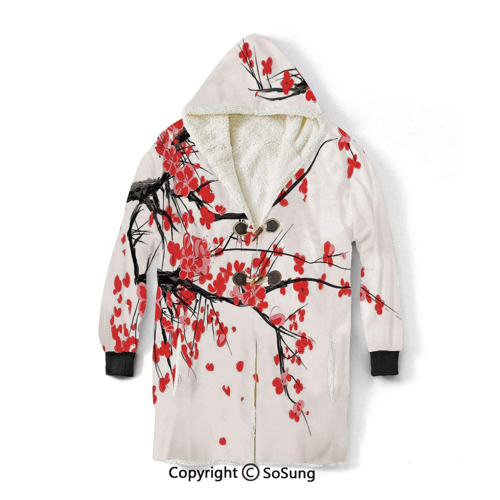 Floral Blanket Sweatshirt,Japanese Cherry Blossom Sakura Blooms Branch Spring Inspirations Print Decorative Wearable Sherpa Hoodie,Warm,Soft,Cozy,XL,for Adults Men Women Teens Friends,Vermilion Brown by Bernie Vogt-sosung