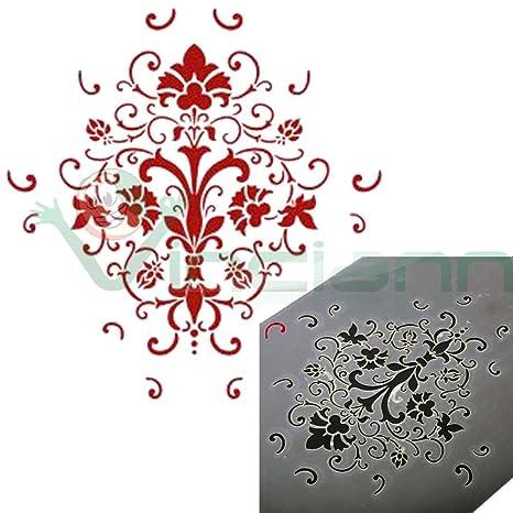 rivenditore all'ingrosso vendite all'ingrosso online in vendita Stencil mascherina damascata vaso fiori decorazione decoro ...
