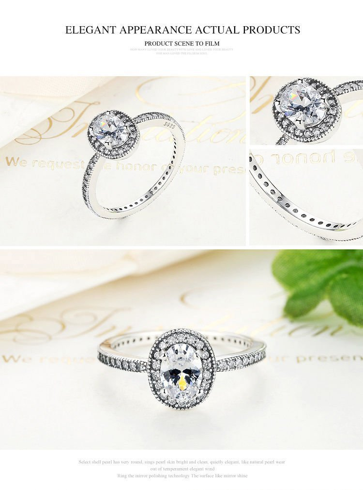 Sumanee New Arrival Real 925 Solid Silver Vintage Elegance & Clear CZ Vintage Ring Women (7) by sumaneeshop