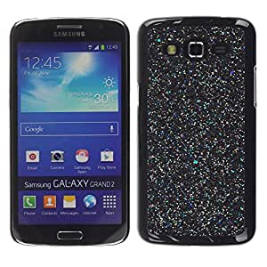 LECELL--Funda protectora / Cubierta / Piel For Samsung Galaxy Grand 2 SM-G7102 SM-G7105 -- Black Wonder Scatter Stars Paint --