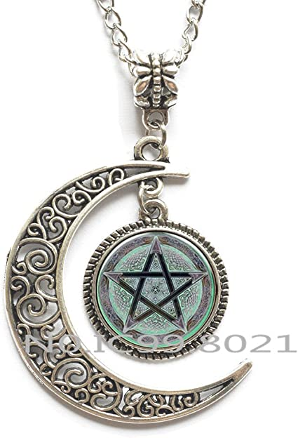 Silver Pentagram Necklace Pagan Pentacle Chain Pendant Present Gift