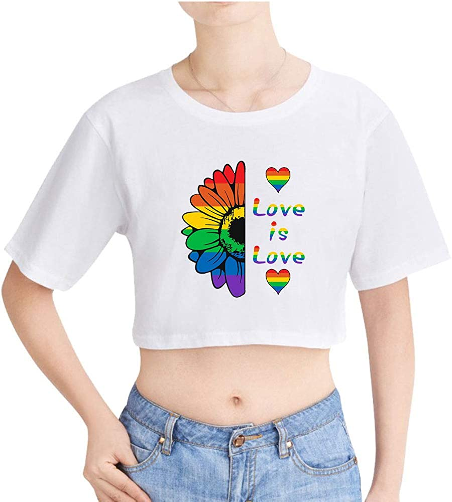 Love is Love LGBT Gay Lesbian Pride Girls Crop Top /& Shorts 2 Pieces Short Sleeve T-Shirt Top and Shorts Set Gym Workout Running Tracksuit Ourtfits Summer Casual Sportswear Pajamas Yoga Clothes