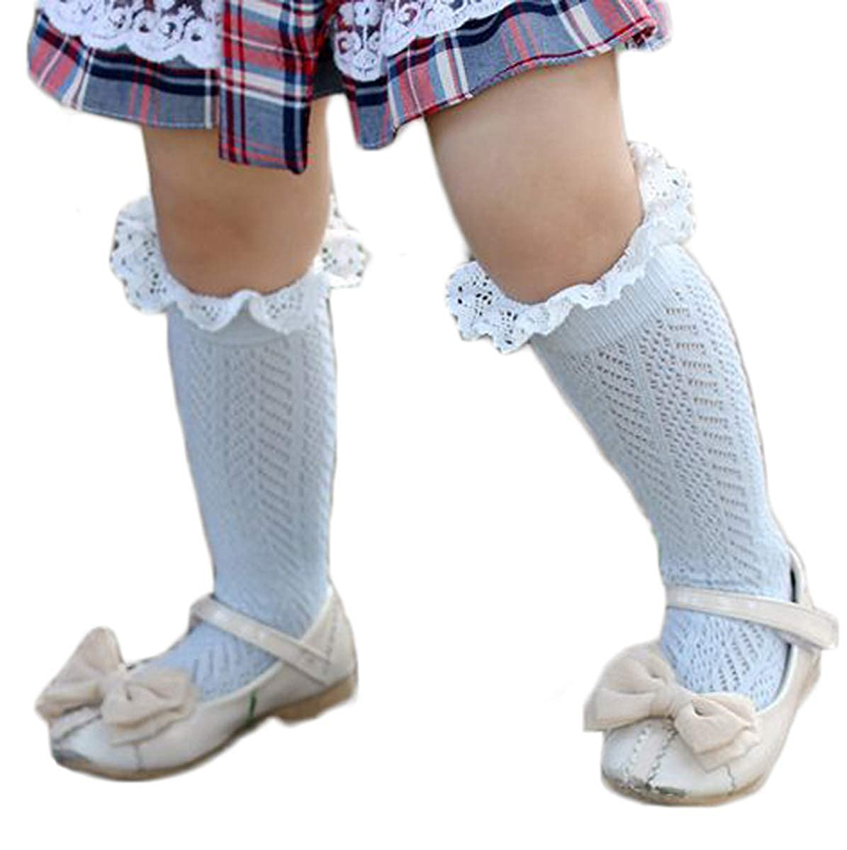 Baby Girl Boy Lace Trim High Knee Cotton Long Tube Socks Stockings,One Size For 3-10T