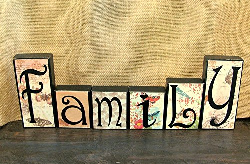 Family Rustic Wood Word Blocks Home Decor