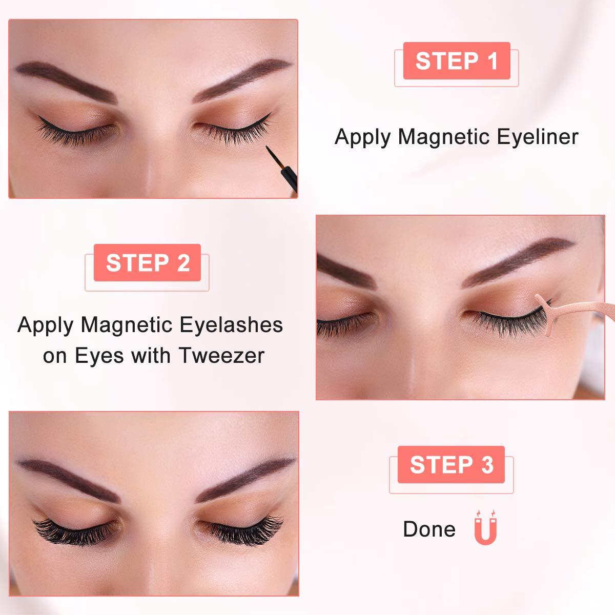 Magnetische Wimpern Eyeliner Kit, 6 Paar Natürlich Wasserdicht Falsche Magnetische Wimpern, 3D Wiederverwendbar Magnetischer Eyeliner 10Ml, Leder-Geschenkbox (Roségold)