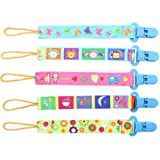 5pcs Goldore Baby universal Chupete Clips para niños y niñas de los dientes del sostenedor del anillo, de doble cara de impresión del diseño moderno