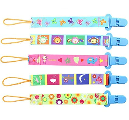5pcs Goldore Baby universal Chupete Clips para niños y niñas de los dientes del sostenedor del anillo, de doble cara de impresión del diseño ...