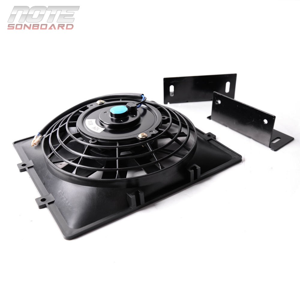 Universal 7 12V 80W Slim Pull Push Electric Oil Cooler Engine Cooling Fan/& Bracket Black