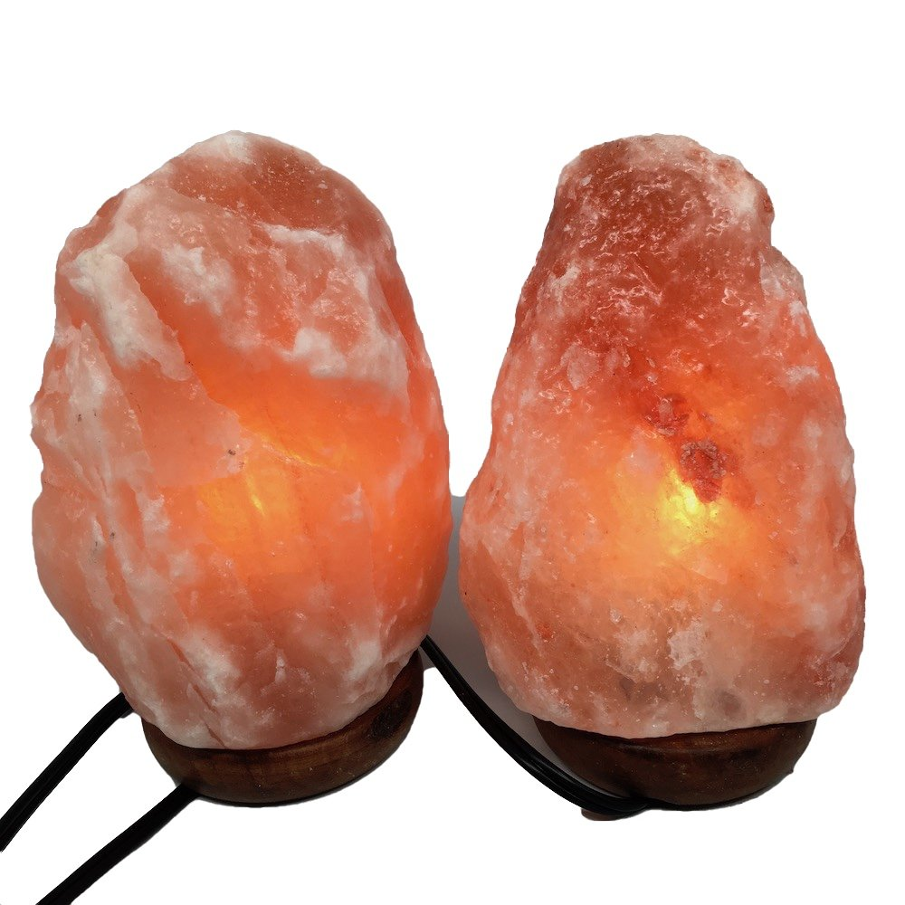 2x Himalaya Natural Handcraft Rough Raw Crystal Salt Lamp,8''-8.25''Tall, X052, Exact Item Delivered